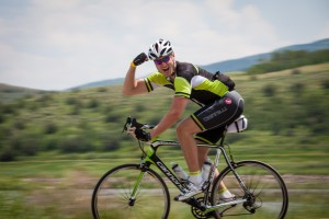 Cyclist celebrates his ride during 2014 Tour de Steamboat.
